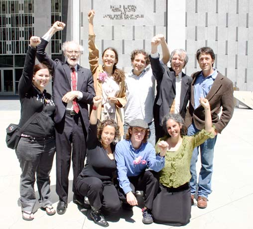 Some of the Pepper Spray Eight plaintiffs and attorneys at their April 29, 2005 press conference