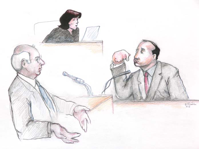 Humboldt Deputy Marvin Kirkpatrick, the one who did all of the pepper spray applications in this case, is questioned by plaintiffs' counsel Bill Simpich, as Judge Illston ponders. Courtroom graphics by K. Rudin.