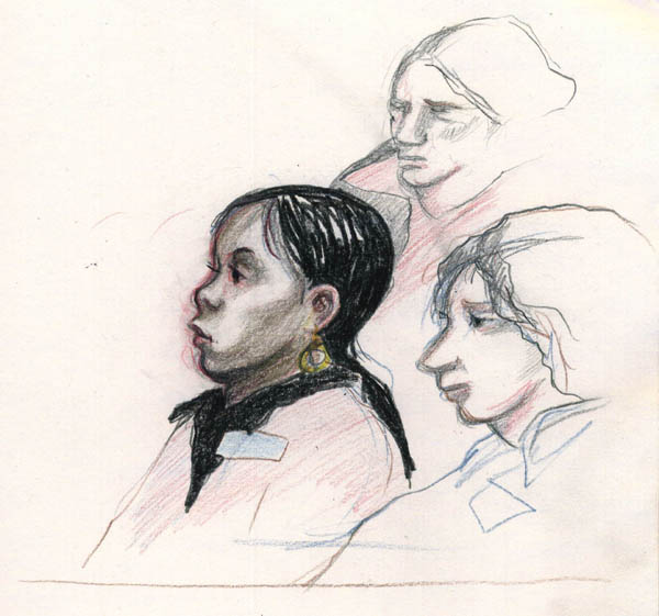 Members of the jury listen as Terri Slanetz testifies. Courtroom graphics by K. Rudin.